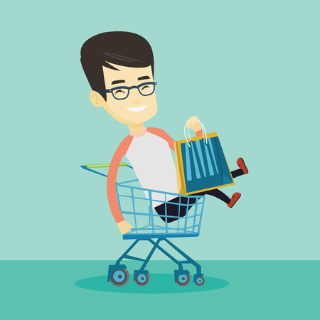 having fun: Young carefree customer having fun while riding by shopping trolley. Cheerful asian customer with a lot of shopping bags sitting in shopping trolley. Vector flat design illustration. Square layout.
