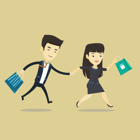 Young asian customers rushing to promotion and sale. People rushing on sale to the shop. Cheerful couple running in a hurry to the store on sale. Vector flat design illustration. Square layout.