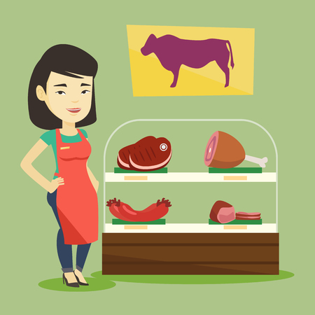 Asian butcher offering meat at display in butchery. Butcher at work at the counter in butchery. Butcher standing on the background of storefront. Vector flat design illustration. Square layout. Ilustrace