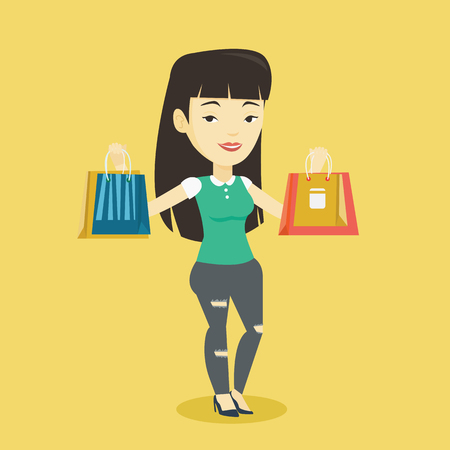Happy asian woman carrying shopping bags. Smiling woman holding shopping bags. Girl standing with a lot of shopping bags. Girl showing her purchases. Vector flat design illustration. Square layout Illustration