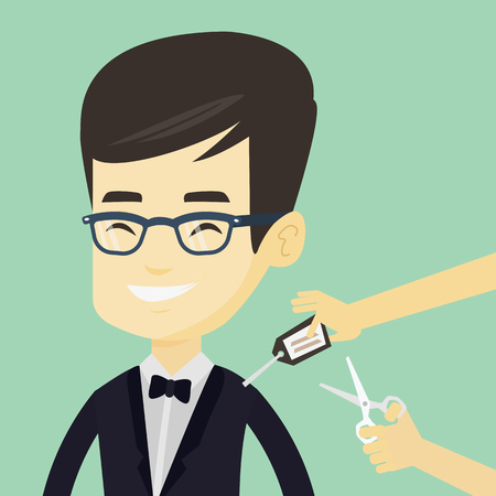 removing: Young asian man cutting price tag off new clothes with scissors. Smiling man removing price tag off his new t-shirt. Happy man shopping at clothes store. Vector flat design illustration. Square layout