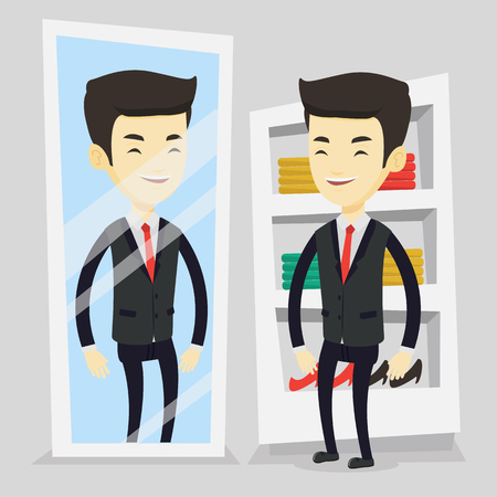 Young asian man looking at himself in a mirror in dressing room. Young man trying on suit in dressing room. Happy man choosing clothes in dressing room. Vector flat design illustration. Square layout. Illustration