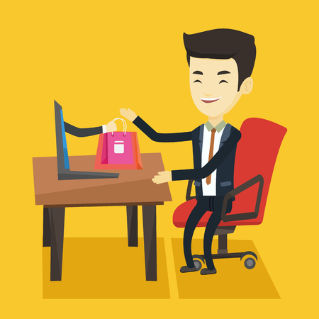 Cheerful asian man using laptop for online shopping. Young happy man shopping online at home. Smiling man making online order in virtual shop. Vector flat design illustration. Square layout.