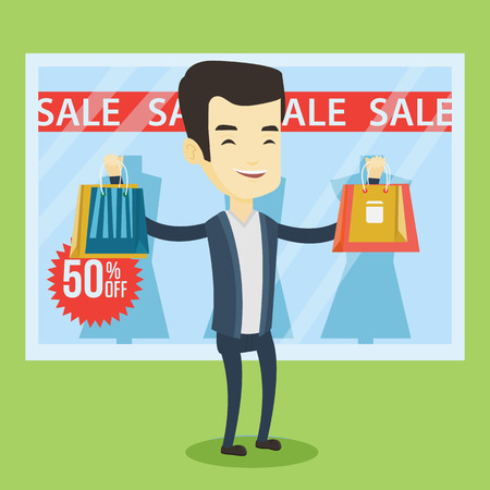 Asian man with shopping bags standing in front of clothes shop with sale sign. Cheerful man holding shopping bags in front of storefront with text sale. Vector flat design illustration. Square layout.