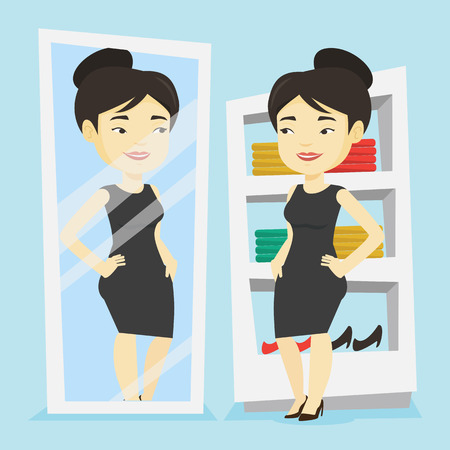 Young woman looking at herself in a mirror in dressing room. Young girl trying on skirt in dressing room. Happy woman choosing clothes in dressing room. Vector flat design illustration. Square layout.