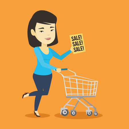 mujer en el supermercado: Asian woman running on big sale. Woman holding paper sheet with sale text. Woman with empty shopping trolley running in hurry to the store on sale. Vector flat design illustration. Square layout.