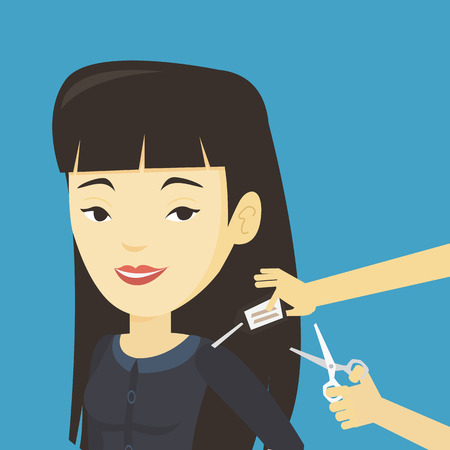 removing: Woman removing price tag off new t-shirt. Young asian woman cutting price tag off new clothes with scissors. Happy woman shopping at clothes store. Vector flat design illustration. Square layout. Illustration