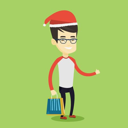 Young asian man carrying shopping bags with christmas gifts and giving thumb up. Man in santa hat holding shopping bags. Man buying christmas gifts. Vector flat design illustration. Square layout. Stock Photo