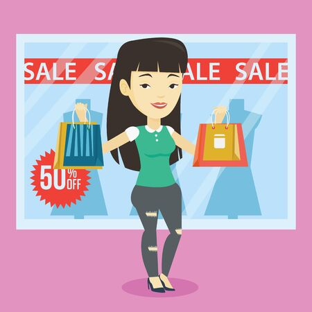 Asian woman with shopping bags standing in front of clothes shop with sale sign. Woman holding shopping bags in front of storefront with text sale. Vector flat design illustration. Square layout.