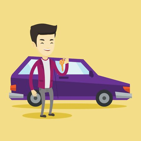 Young asian man holding keys to his new car. Happy man showing key to his new car. Smiling man standing on the backgrond of his new car. Vector flat design illustration. Square layout.