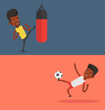 soccer field: Two sport banners with space for text. Illustration