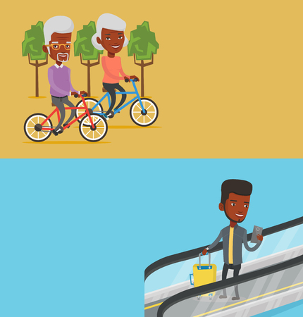 Two transportation banners with space for text. Ilustração
