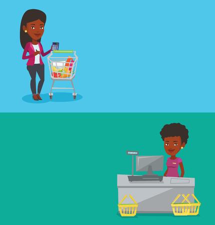 mujer en el supermercado: Dos banderas de compras con espacio para texto. Vectores