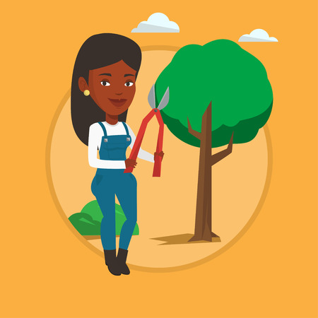 Farmer with pruner in garden vector illustration. Illustration