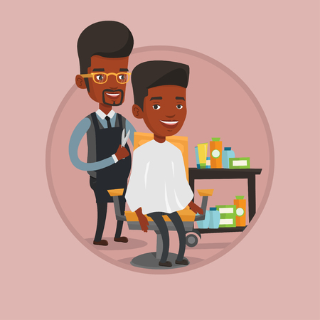 barbershop: Barber making haircut to young man. Illustration