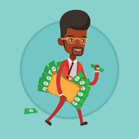 Businessman with suitcase full of money. Illustration