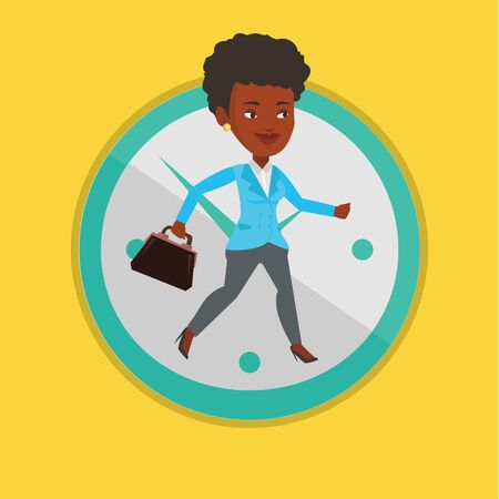 Business woman running on clock background. Illustration