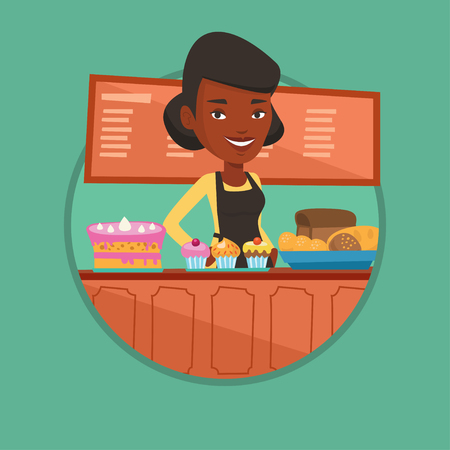Worker standing at the counter at the bakery. Ilustrace