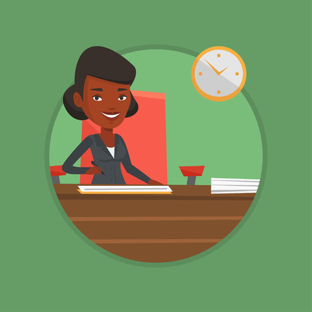 Signing of business documents vector illustration.
