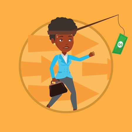 Businesswoman trying to catch money on fishing rod 일러스트