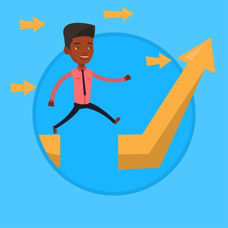 Businessman jumping over gap on arrow going up. Stock Illustratie