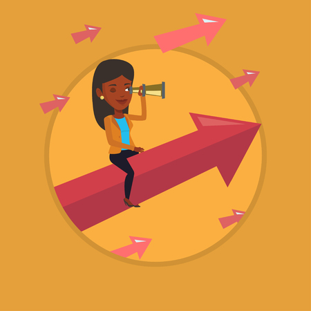 looking for job: Business woman looking through spyglass. Illustration