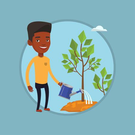 investor: Businessman watering trees vector illustration.