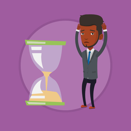 Desperate businessman looking at hourglass. Illustration