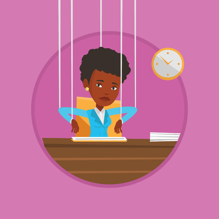 Business woman marionette on ropes working. Illustration