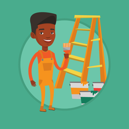 house painter: Painter with paint brush vector illustration.
