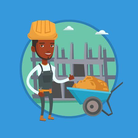 building site: Builder giving thumb up vector illustration. Illustration