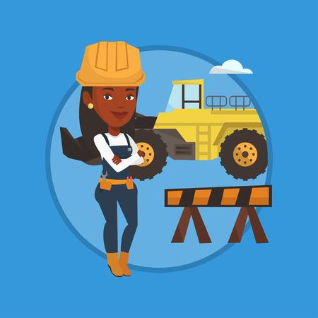 Zelfverzekerd bouwer met de armen gekruist. Stock Illustratie