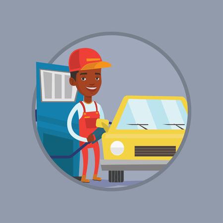 filling station: Worker of gas station filling up fuel into car. Illustration