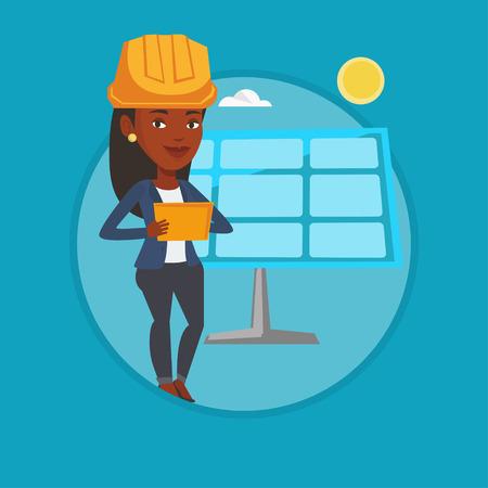 Female worker of solar power plant. Illustration