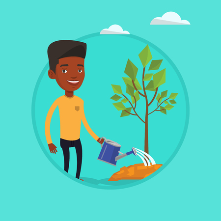 Man watering tree vector illustration.