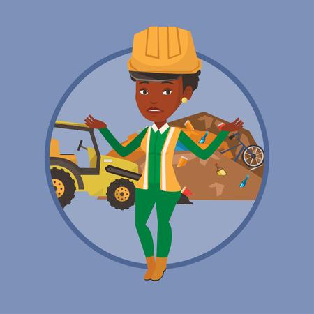 dumping: Worker and bulldozer at rubbish dump.