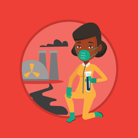 protective suit: Woman in radiation protective suit with test tube. Illustration