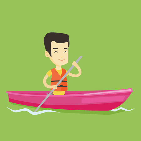 Young asian man traveling by kayak. Sportsman riding in a kayak in the river. Male kayaker paddling. Sportsman paddling a canoe. Vector flat design illustration. Square layout. Illustration