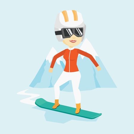 snow capped: Asian sportswoman snowboarding on the background of snow capped mountain. Snowboarder on piste in mountains. Young woman snowboarding in the mountains. Vector flat design illustration. Square layout. Illustration