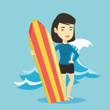 Young woman standing with a surfboard on the beach. Professional surfer with a surf board on the beach. Surfer standing on the background of sea wave. Vector flat design illustration. Square layout.