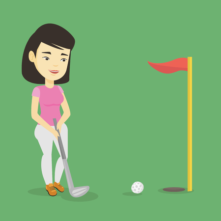 Young asian golfer playing golf. Golfer hitting the ball in the hole with red flag. Professional golfer on the golf course. Vector flat design illustration. Square layout. Illustration