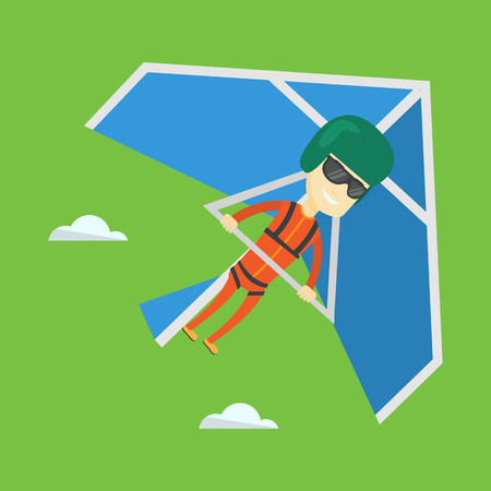deltaplane: Smiling asian man flying on hang-glider. Sportsman taking part in hang gliding competitions. Man having fun while gliding on delta-plane in the sky. Vector flat design illustration. Square layout.