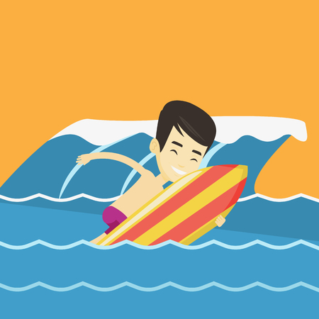 Young asian man having fun during execution of a move on a blue ocean wave. Happy surfer in action on a surf board. Lifestyle and water sport concept. Vector flat design illustration. Square layout. Stock Illustratie
