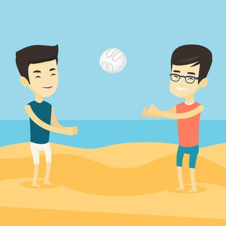Two asian friends having fun while playing beach volleyball during summer holiday. Young sportsman playing beach volleyball with his friend. Vector flat design illustration. Square layout.