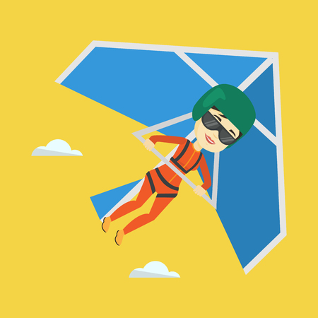 para: Smiling asian woman flying on hang-glider. Sportswoman taking part in hang gliding competitions. Woman having fun while gliding on delta-plane in sky. Vector flat design illustration. Square layout. Illustration