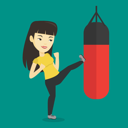 Smiling asian boxer woman exercising with boxing bag. Kickbox fighter hitting heavy bag during training. Female boxer training with the punch bag. Vector flat design illustration. Square layout. 矢量图像