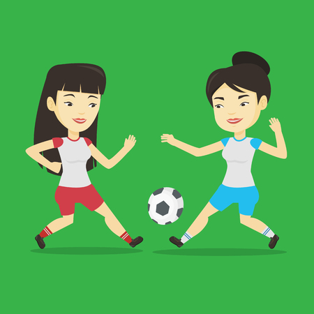 soccer field: Two asian soccer players fighting over control of ball during a football match at stadium. Football players in action during a champions league match. Vector flat design illustration. Square layout.