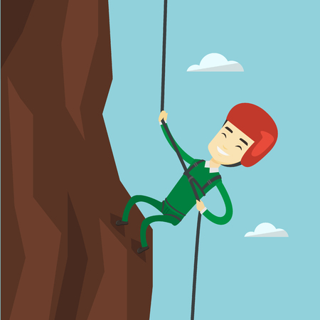 mountaineering: Man climbing in mountains with rope.