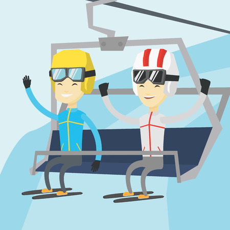 Two asian men sitting on ski elevator in winter mountains. Skiers using cableway at ski resort. Skiers on cableway in mountains at winter sport resort. Vector flat design illustration. Square layout.