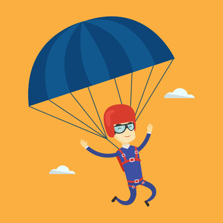 descending: Asian man flying with a parachute. Young happy man paragliding on a parachute. Professional parachutist descending with a parachute in the sky. Vector flat design illustration. Square layout.
